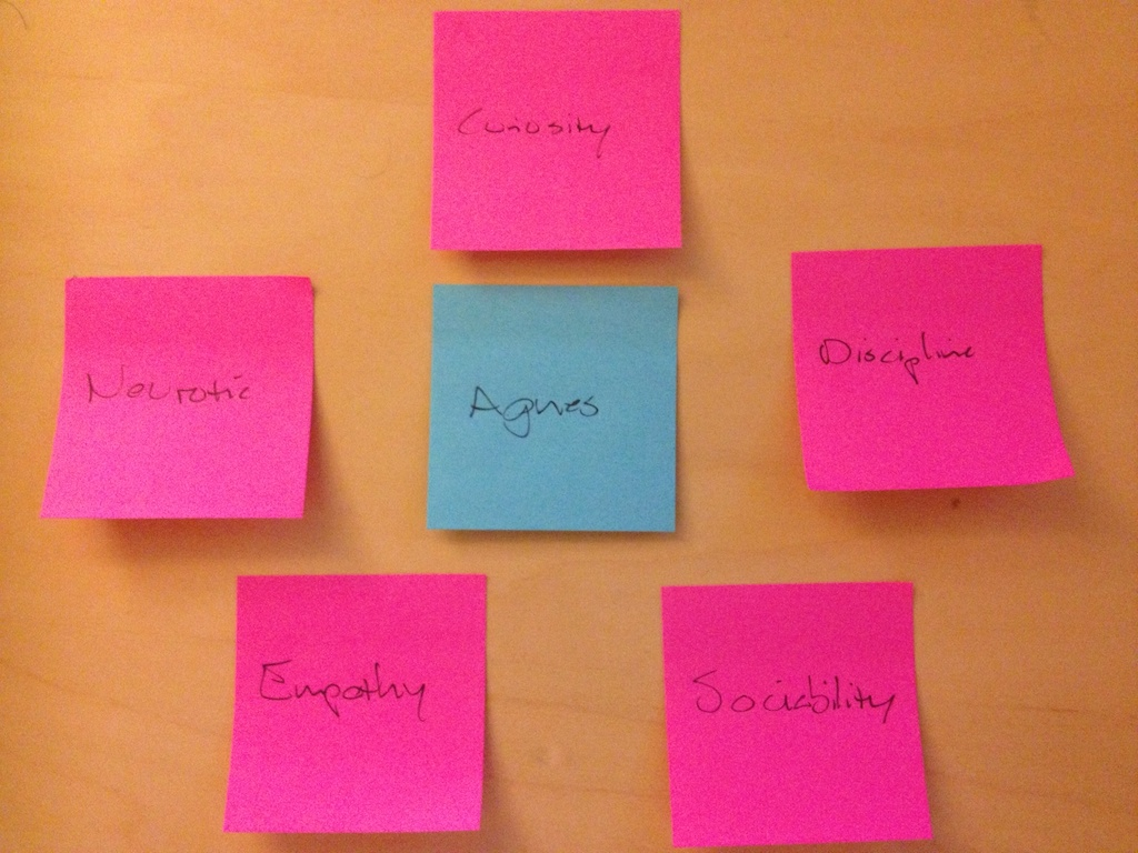 AgNES's personality cores based on the Five Factor Model.