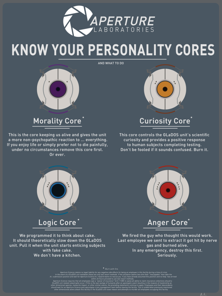 Some of the GLadOs personality cores
