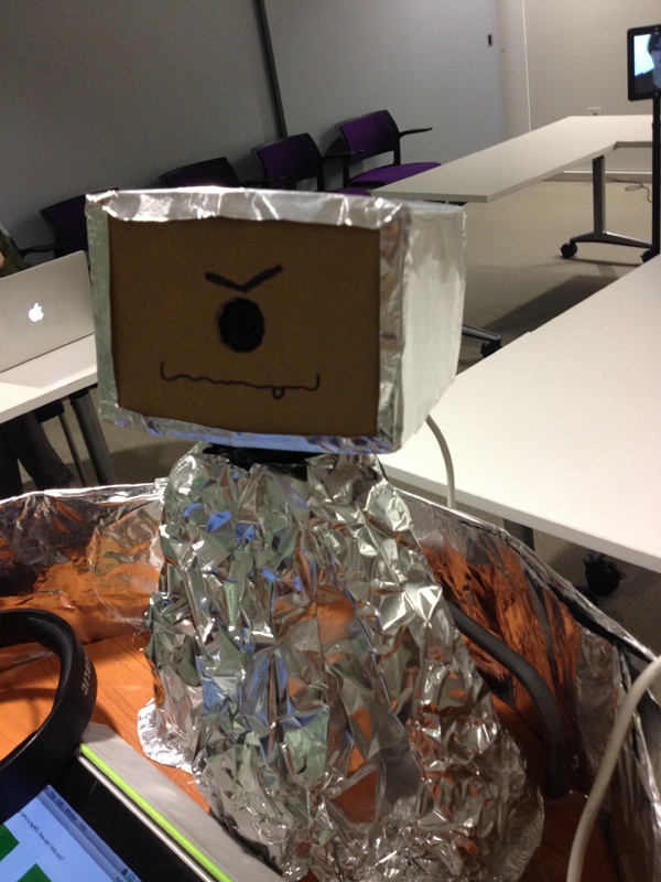 AgNES wearing its tin foil space helmet.